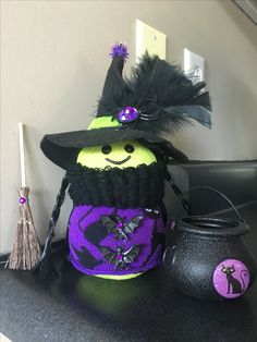 Sock Snowman Dressed As A Witch For Halloween