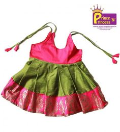 Cute New born Traditional Frock. Made of silk cotton and Gorgeous Border. For more details and to be buy visit www.princenprincess.in #frock #traditional #new #born #just #traditional #pattu #online #girls #princess #pavadai #langa