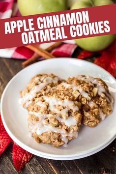 These Apple Cinnamon Oatmeal Cookies are the BEST Fall treat, especially if you aren't ready for pumpkin recipes yet! These soft cookies are filled with apple, applesauce, oats, walnuts, cinnamon, nutmeg, and topped with a light glaze. They're easily made gluten-free and dairy-free too!
