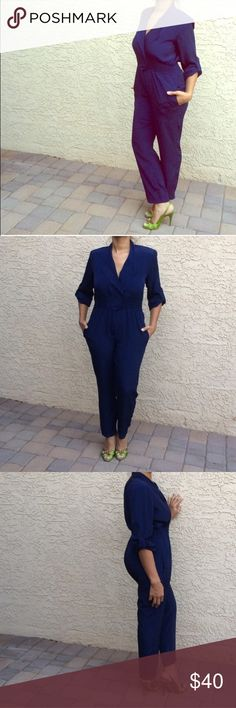 """Navy Blue Vintage One Piece Jumpsuit!!! PreOwned Navy Blue Vintage Laura & Jayne One Piece Jumpsuit. Elastic waist, button and zip closure. Say size """"P"""" fits like a small to me. So cute!! Vintage Pants Jumpsuits & Rompers"""