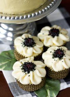 Vanilla Cake with Blackberry-Mascarpone Filling - cupcake version
