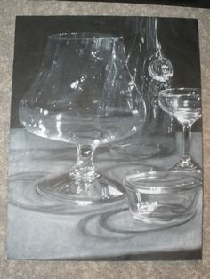 Charcoal Drawing Lessons on black paper | still life of glass 20x30 chalk on black paper this