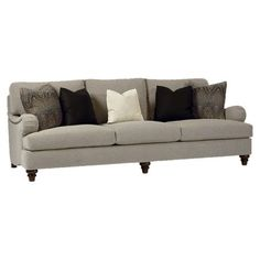 BERNHARDT Watson Sofa | 2,250.00 retail as shown | Upholstered in soft gray, this contemporary loveseat has low gently curving arms with nailhead trim and spooled wooden legs.       Pr...