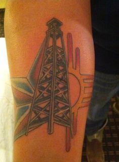 My tattoo! Arm Tattoos, Tattos, Oilfield Life, Leather Tooling, Deathly Hallows Tattoo, Rigs, Tattoo Inspiration, Tattoos For Guys, Tattoo Ideas