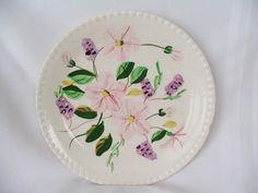 Vintage Blue Ridge Southern Pottery Stoneware Pink Flower Garden Dinner Plate #BlueRidge