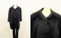 Vintage Coat Mad Men Navy Blue & Gold Button Down Jacket Modern Plus Size Blue Gold, Navy Blue, Plus Size Vintage, Vintage Coat, Mad Men, Trending Outfits, Jackets, Fashion, Vintage Coat Rack