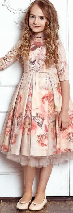Sale !!! JUNONA Girls Pink Tulle Designer Party Dress.  Gorgeous Dress Designed in Bulgaria for Girls Perfect for a Special Occasion or Family Event. Elegant, Pink Satin with Beautiful Vintage Print on the Front, Surrounded by Butterflies & Roses.  On Sale Now!  #kidsfashion #dress #junona #party #luxury #sale #fashion