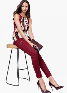 Featuring a slim fit and edgy zipper accents, we are obsessed with this moto-inspired design. We gave these jeans a dose of stretch for comfort and a lived-in fit. Though a v-neck tee provides a classic pairing with jeans, we think one of our cold-shoulder blouses will infuse a romantic vibe to your look. | White House Black Market
