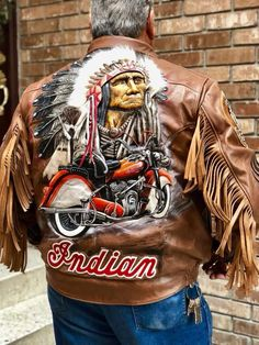 Awesome jacket! Motorcycle Leather, Biker Leather, Motorcycle Jacket, Motorcycle Travel, Leather Jacket, Indian Cycle, Indian Jackets, Indian Scout, Classic Harley Davidson