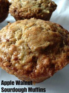 Apple Walnut Sourdough Muffins Sourdough Muffin Recipe, Recipe Using Sourdough Starter, Dough Starter Recipe, Bread Starter, Starter Recipes, Bread Dough Recipe, Sourdough Recipes, Sour Dough Starter, Sourdough Bread Machine