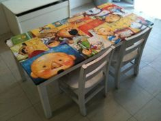 Childrens book Decoupaged table
