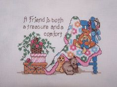 Completed Cross Stitch SamplerCute and Cuddly by WitsEndDesign, $18.00