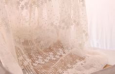gauze lace fabric in ivory French embroidery lace by lacetime