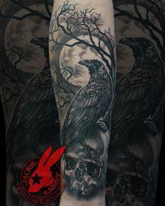 Viking Tattoo Sleeve, Skull Sleeve Tattoos, Norse Tattoo, Viking Tattoos, Tattoo Symbols, Hand Tattoos, Black Crow Tattoos, Wolf Tattoos, Animal Tattoos