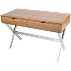 Wade Logan Clancy Desk Vanity Set with Mirror Color: Walnut Mirrored Vanity Desk, Wooden Vanity, Glass Vanity, Vanity Set With Mirror, Cheap Office Supplies, Contemporary Vanity, Solid Wood Desk, Floating Desk, Modern Desk