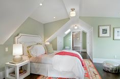 Green & pink girl's bedroom with green walls paint color, Schoolhouse Electric & Supply Co.
