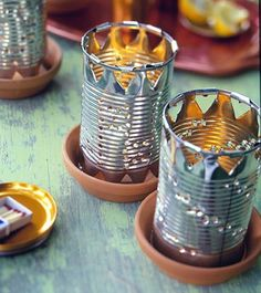 Recycle and save money. These tin can luminaries are easy to make.