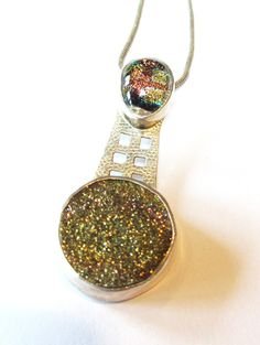 Gold Druzy and Dichroic Glass pendant.  Little by MayStudios, $168.00