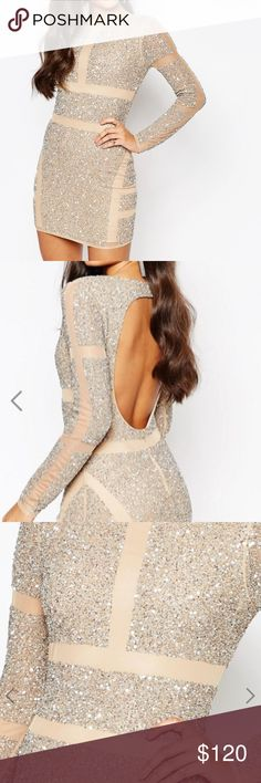 Missguided premium panelled embellished mini dres Missguided premium panelled embellished mini dress, Beaded, Sequins, Sequined, Metallic, Silver, Nude, Mesh, Long Sleeve, Backless, New with tags, Never worn, ASOS, Vegas, Sparkly, Gold, illusion Missguided Dresses Long Sleeve