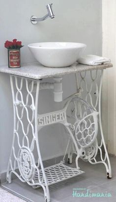 Sewing Machine Base as Sink Vanity.Chalk Painted. White, Grey, Chippy, Shabby Chic, Whitewashed, Cottage, French Country, Rustic, Swedish decor Idea. *** Repinned from Diane Swanson ***.