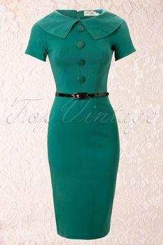Tatyana - 50s Jade Turquoise Wiggle Pencil Dress Retro