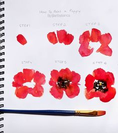 Sharing a little step by step of my poppies today! Hope this helps you  if you try this technique tag #biancasartchallenge so I can
