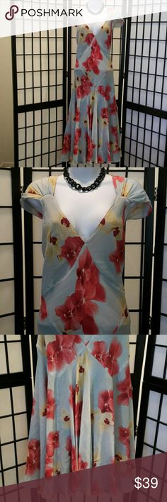 *NWOT* Jones New York Pink Blue Floral Dress Never Worn, Gorgeous, 100% Silk, Free Flow, Fully Lined, Cap Sleeve, Bold Flower Prints, V-neck,  Accessories not included, Thanks for sharing my closet, I wish show Posh love by doing the same. Jones New York Dresses