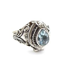Image of Sterling Silver & Blue Topaz Poison Box Ring