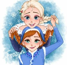 Anna and Elsa from Olaf's Frozen Adventure