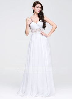 A-Line/Princess Sweetheart Floor-Length Chiffon Prom Dress With Ruffle Beading Appliques Lace (018081671)