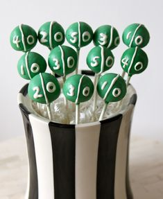 Football field cake pops