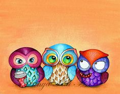 Owl Trio -  Painted Fabric Birds with Berries and Starbucks Coffee - Illustration by Annya Kai -
