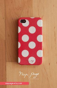 case for iphone 4 iphone 4s case , iphone case , Iphone 4, Blackberry mobile Case handmade: Red polka dot