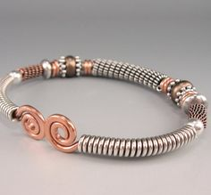 Sterling, Copper Bangle Bracelet, Hand-Forged Wirework Cuff, Mixed Metal, Unisex on Etsy