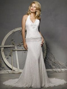 Gorgeous Halter V Neck Lace Wedding Dresses 2012 Classic
