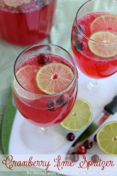 Cranberry Lime Spritzer - an easy, non-alcoholic beverage for the holidays. | Dessert Now, Dinner Later!