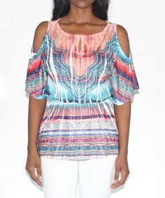 Look what I found on #zulily! Orange & Teal Tapestry Keyhole Cutout Top by Design 26 #zulilyfinds