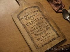 how to transfer images onto wood and make a vanilla bottle style cutting board by Red Hen Home