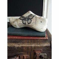 Antigua Horma Para Zapato De Madera Decorada -