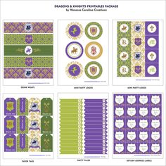 DRAGONS AND KNIGHTS Printables Package - Medieval Party Printables - Purple and Green Party Printables - Boys Party. $39.00, via Etsy.