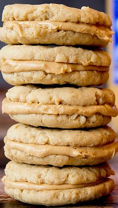 Peanut Butter Oatmeal Sandwich Cookies - doctored down they could be a clean treat!