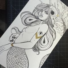 I've added this original to the shop 💖✨ link in profile #artistsoninstagram #instaart #instaartist #myart #mermaid #drawing #artsy #nawden #illustration #arte #scales #instagood #instadaily #artlife #artstudio #meow #skulls #blackandgold #artforsale #seattleart #seattleartist