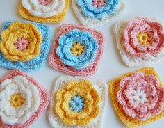 Flower granny squares by dada's place, via Flickr