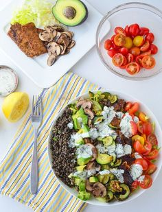 The great big vegan cobb salad! 30g of protein per serving! Packed with tempeh bacon, marinated mushrooms, lentils, roasted vegetables, and creamy vegan ranch dressing!