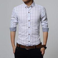 Men Clothes Slim Fit Men Long Sleeve Shirt Men Plaid Cotton Casual Men Shirt Social