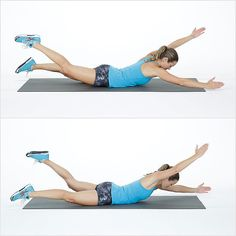 This basic arm and leg exercise targets your back and backside, similar to swimming in the pool! Control here is key — here's how: Lie on your belly, extending your arms and legs straight out in front of you. As you inhale, lift your arms and legs off the floor. Slowly alternate your arms and legs in a flutter movement, continuing the movement for 30 seconds. Rest and repeat for a total of four times.