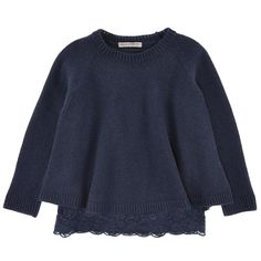 Ermanno Scervino Junior Navy blue wool and cashmere knit sweater and viscose jersey top Blue - 99376 | Melijoe.com
