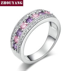 Fashion Cocktail Party Women Rings  White Gold Plated Purple Crystals Bijoux CZ Ring jewelry Chirstmas Gift ZYR585 - cubic zirconia jewelry
