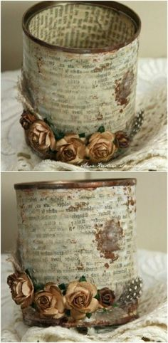 Beautiful Vintage Upcycled Tin Can Holder for Craft Supplies and More