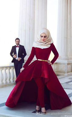 NEW!!!2015 Long Sleeves Arab Muslim Evening Dresses High Neck Gold Sash Hi Lo Velvet Formal Party Dresses with Pants Arabic Dresses, $127.17